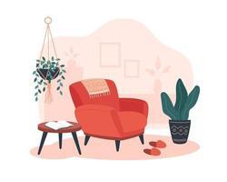 interior acogedor con un sillón, una mesa y plantas vector