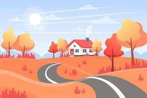 Autumn landscape with a road, hills and a house in the distance vector