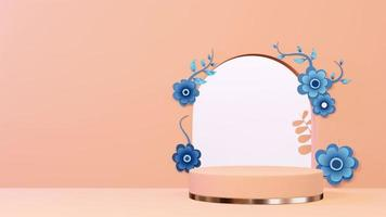 Imagem de fundo 3D do pódio com flores e plantas video