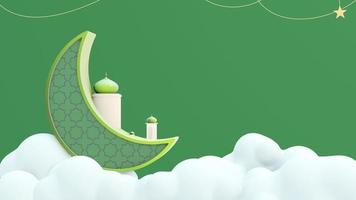 Crescent Moon Above Clouds with Hanging Stars and Islamic Ornaments video