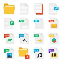 Pack of Document Flat Icons vector
