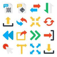 Pack of Files and Arrows Flat Icons vector