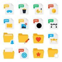 paquete de tipos de archivos iconos planos vector