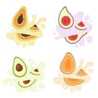 salpicaduras de frutas. frutas exóticas y tropicales higo, mango, aguacate, papaya vector