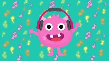 monstre de dessin animé mignon écoutant de la musique video