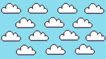 Retro 8 Bit Pixel White Clouds on Blue Animated Background video