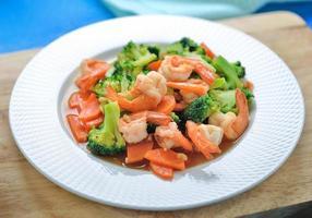 Thai healthy food stir-fried broccoli and shrimp photo