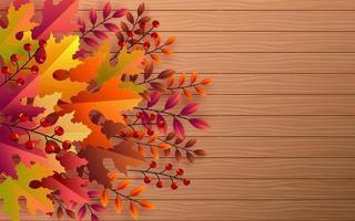 Fondo de temporada de vacaciones de otoño con coloridas hojas de otoño foto