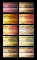Listed of wood with country style nails of various colors on black background photo