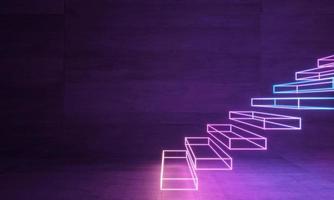 Escalera de neón abstracto holograma láser foto