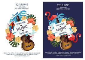 tropical summer music festival vector