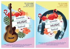 tropical and wildlife summer music festival poster vector