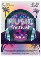 disco summer music festival poster vector