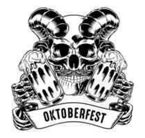 Isolated  skull holding beer for logo and branding element vector