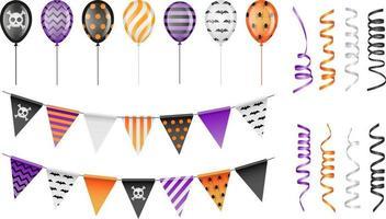 conjunto de banderines, globos y serpentinas de fiesta de halloween vector