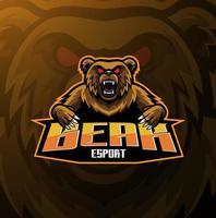 Bear esport mascot logo design vector