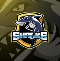 Shark esport mascot logo design vector