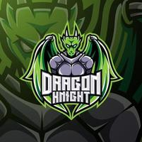 Dragon knight esport mascot logo design vector