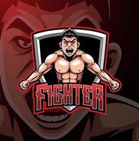 diseño de logotipo de mascota de luchador esport vector