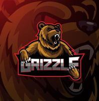 Grizzly esport mascot logo design vector