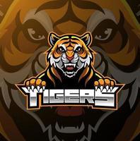 Tiger face mascot logo design vector