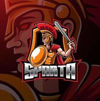 diseño de logotipo de mascota espartana esport vector