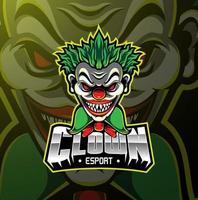 payaso esport mascota diseño de logotipo vector