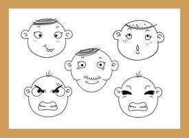 different facial expressions of a boy blackboard vector