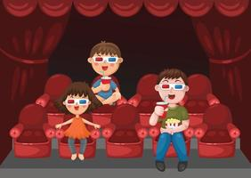 Illustration of isolated kids watching a movie with 3d glasses vector