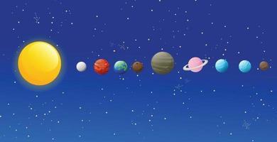 Ilustración de iconos aislados del sistema solar vector