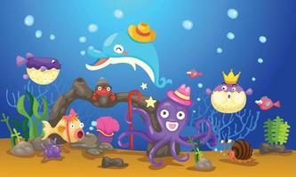 Illustration of isolated an underwater world vector