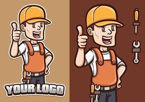 smilling mechanic show his thumb mascot character illustration vector