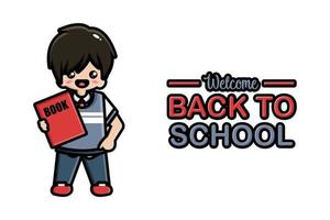 Back to school banner cute boy with book vector