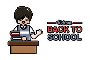 Back to school banner male student sitting vector