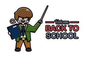 Back to school banner teacher with book vector