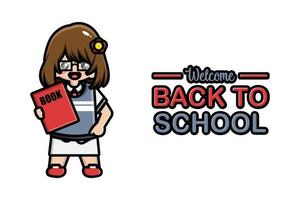Back to school banner cute girl with book vector