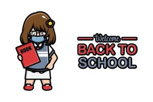 Back to school banner cute girl wearing mask vector