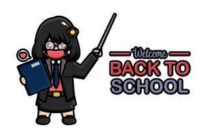 Back to school banner teacher wearing mask vector