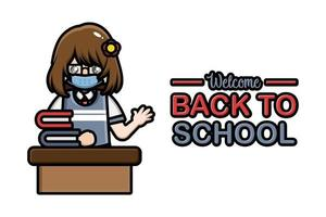 Back to school banner female student sitting wearing a mask vector