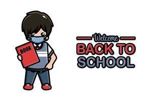 Back to school banner cute boy wearing mask vector