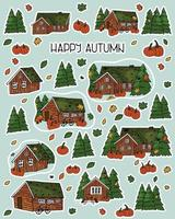Set of Brown hand drawn wooden houses. Autumn vector