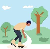 man roller skate in open park vector