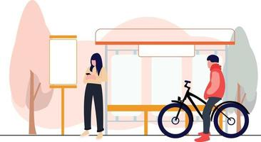 woman waiting for bus and man taking a break from cycling sport vector