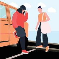 woman and man in style beside the car vector