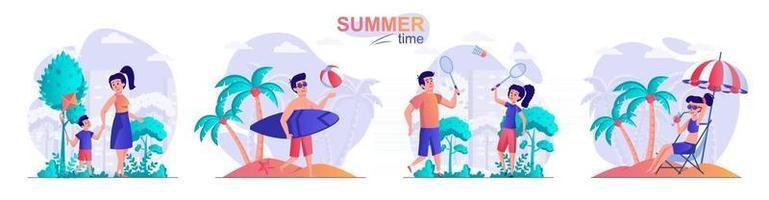 Summer time concept scenes set vector