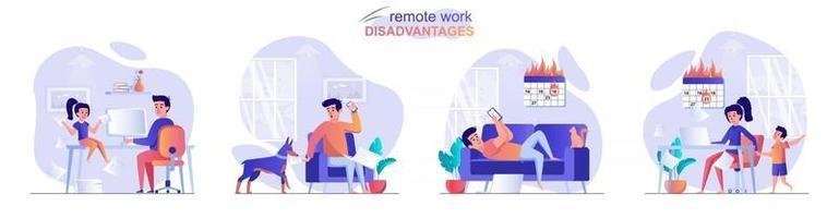 Remote work disadvantage concept scenes set vector