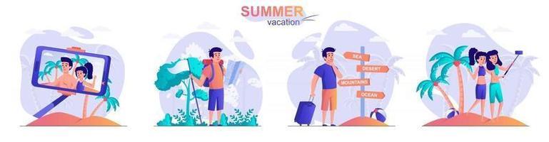 Summer vacation concept scenes set vector