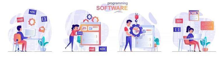 Programming software concept scenes set vector