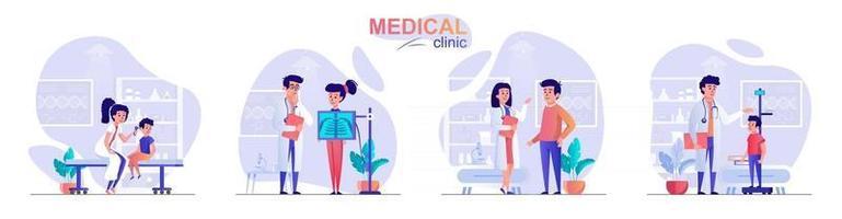 Medical clinic concept scenes set vector