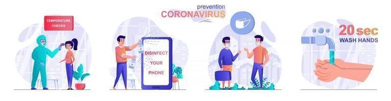Prevention coronavirus concept scenes set vector